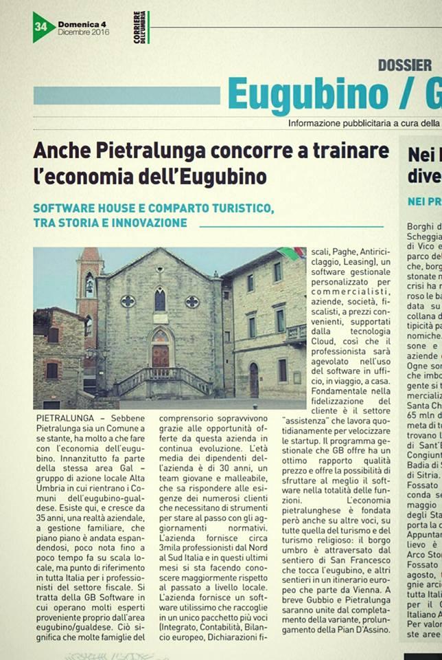 Articolo su Il Corriere dell'Umbria del 04 dicembre 2016