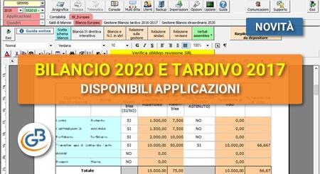 Disponibili le applicazioni Bilancio Europeo 2020 esercizio 2019, Bilancio Tardivo 2017 e Bilancio per Consorzi!