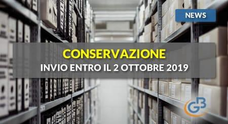 News - Conservazione 2018: invio entro il 2 ottobre 2019