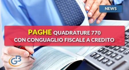 News - Paghe 2019: Quadrature 770 con conguaglio fiscale a credito