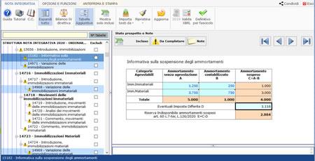 Tabella Ammortamenti Sospesi nel software Bilancio Europeo GB